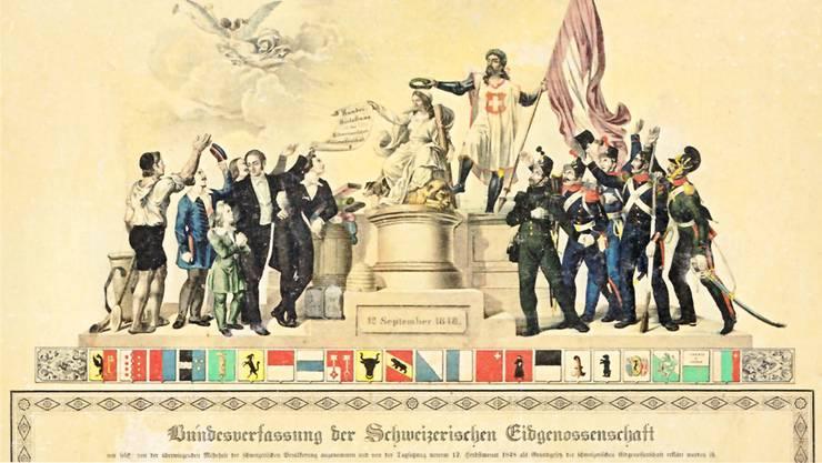 Demokratie: Darunter wird in der Schweiz fast nur direkte Demokratie verstanden. Die Schweizer Bundesverfassung vom 12. September 1848.