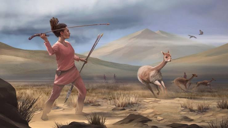 So stellen sich Künstler die Jägerinnen der Steinzeit in den Anden Südamerikas vor - so modern-sportlich gekleidet waren die Leute allerdings bestimmt nicht.