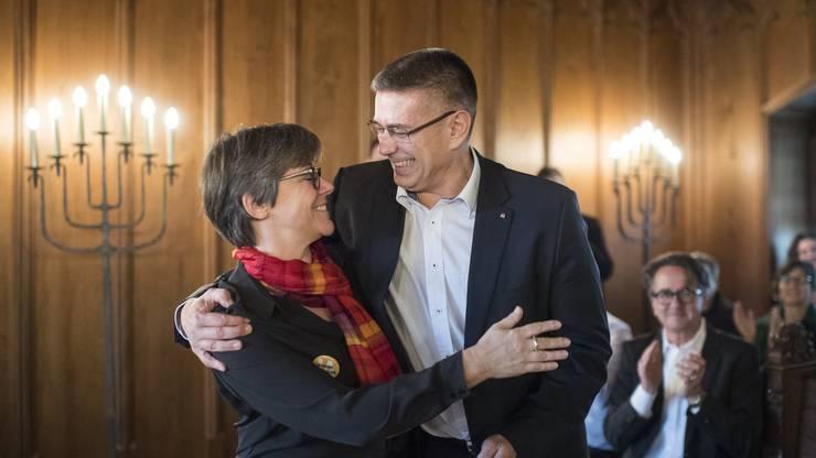 Der neue Stadtammann Markus Schneider (CVP) und die neue Frau Vizeammann Regula Dell'Anno-Doppler (SP).