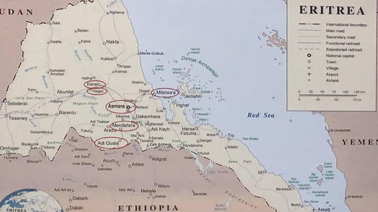 Landkarte von Eritrea. Rot eingekreist Hochulis Reisestationen