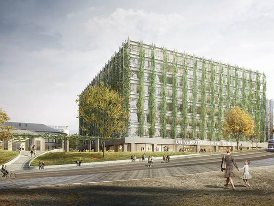 Das neue Gebäude des Universitätsspitals nach Plänen von Christ & Gantenbein soll rundum begrünt werden.
