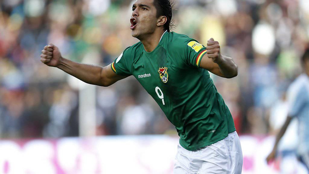Marcelo Moreno sorgte mit dem Tor zum 2:0 für die Entscheidung in der Partie zwischen Bolivien und Argentinien in La Paz