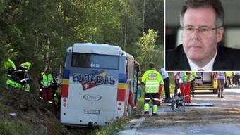 Ein Jahr nach dem Reisebus-Unglück in Norwegen wurde nun der Untersuchungsbericht veröffentlicht. Klar ist, dass 3 der 4 Toten starben, weil sie als Einzige nicht angeschnallt waren. Unfallursache ist laut Bericht menschliches Versagen.