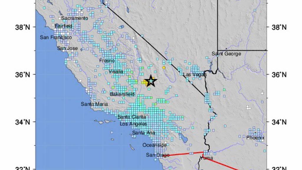 Das Zentrum des Bebens der Stärke 6,4 befand sich rund 160 Kilometer nordöstlich von Los Angeles.