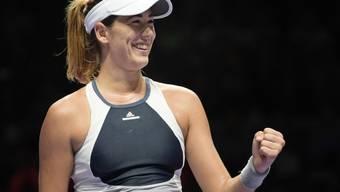 Ein strahlendes Lachen: Garbiñe Muguruza steht an den WTA-Finals nach ihrem zweiten Sieg vor dem Halbfinal-Einzug