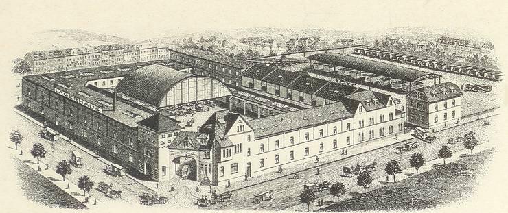 Das Areal an der Türkheimerstrasse auf einem Stahlstich von 1907.