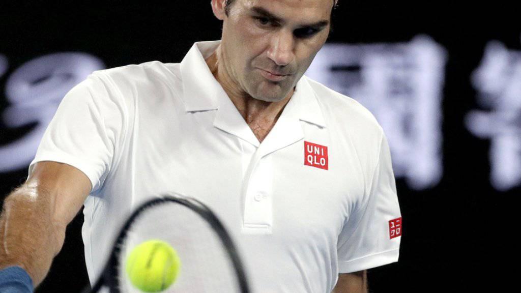 Fokussiert und überlegen: Roger Federer steht am Australian Open ohne Satzverlust im Achtelfinal