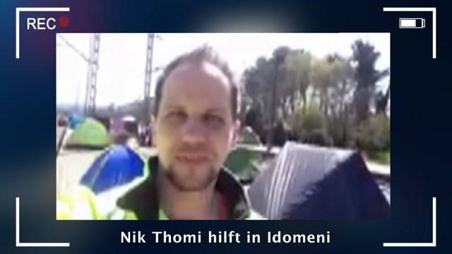 Nik Thomi hilft in Idomeni
