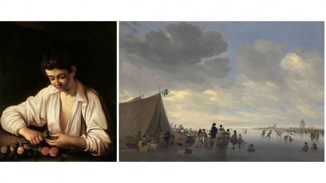 Zu ersteigern: Die Bilder des italienischen Malers Caravaggio (l.) und des Niederländers Salomon van Ruysdael (r). Foto: ZVG