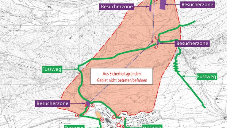 Plan der Besucherzone während der Montage der Stützen für die Seilbahn Weissenstein vom Montag 11. August.