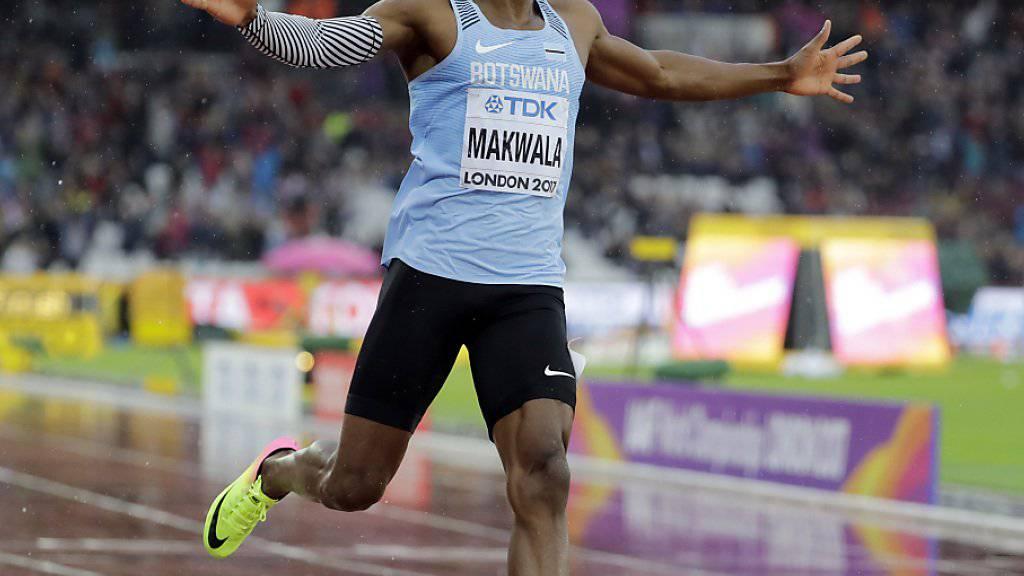 Isaac Makwala lief im strömenden Regen von London alleine den Vorlauf über 200 m
