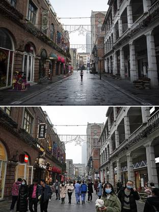 Eine Flaniermeile in Wuhan am 3. Februar 2020 und am 9. Dezember 2020.