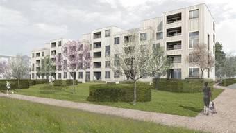 Visualisierung des geplanten Mehrfamilienhauses der Wohnbaugenossenschaft Lägern Wohnen an der Neufeldstrasse in Wettingen.