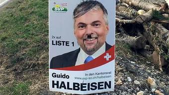 Trotz Diffamierung hat sich Guido Halbeisen entschieden, das übermalte Plakat in Beinwil hängen zu lassen.