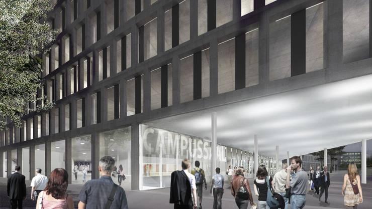 Der Campussaal wird das Herzstück des Campus und ein wichtiges Verbindungselement. visualisierung.