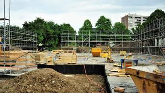 Demenzstation «Haus am Teich»: Die Baustelle wartet noch auf die Holzbauelemente, die Anfang Juni montiert werden sollen.