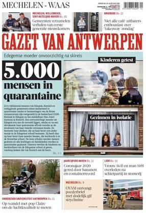 «5000 Menschen in Quarantäne» titelte am Dienstag etwa die «Gazet van Antwerpen».