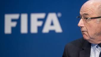 Sepp Blatter an der Pressekonferenz nach seiner Wiederwahl.