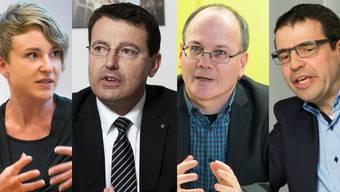 Irène Kälin (Grüne), Thomas Burgherr (SVP), Max Chopard (SP) und Matthias Jauslin (FDP) hatten unterschiedliche Rezepte gegen den Frankenschock.