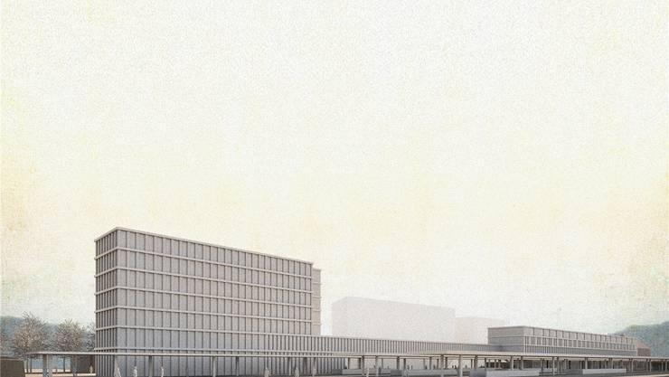 Im neuen SBB-Stationsgebäude (rechts) ist das Ambulatorium des Kantonsspitals Baselland vorgesehen. Das Bürogebäude (links) ist noch nicht vermietet, ebenso wenig wie das Bürohochhaus (nicht im Bild).