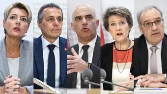 Ziehen alle an einem Strang: Justizministerin Karin Keller Sutter (FDP), Aussenminister Ignazio Cassis (FDP), Innenminister Alain Berset (SP), Bundespräsidentin Simonetta Sommaruga (SP) und Wirtschaftsminister Guy Parmelin (SVP), der sich wohl auch noch gegen die Initiative äussern wird.