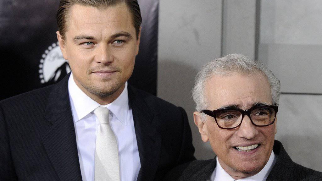 Haben zusammen einen Werbefilm für ein Casino gemacht, das in Südkorea Weltpremiere feiert: Leonardo DiCaprio und Martin Scorsese (Archiv).