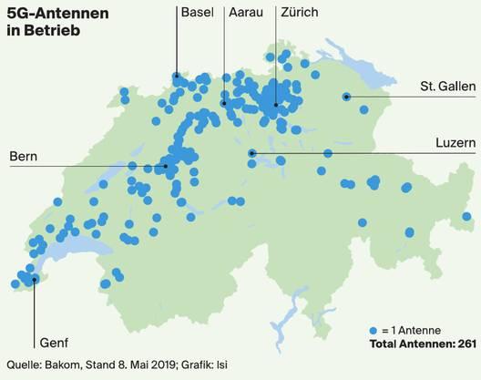 Hier sind in der Schweiz 5G-Antennen in Betrieb.