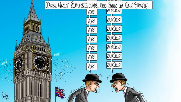 Silvan Wegmann kombiniert in seiner Karikatur zur Woche die nimmer endende Brexit-Debatte und die von der EU beschlossene Abschaffung der Zeitumstellung