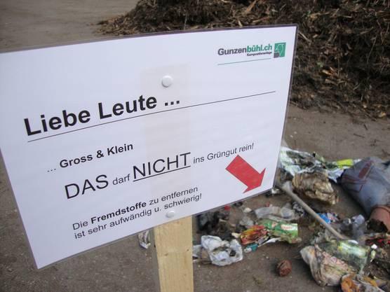 Die Kompostieranlage Gunzenbühl macht aufmerksam.