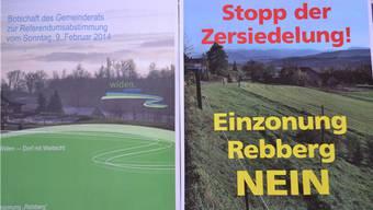 Links die offizielle Ja-Botschaft des Gemeinderats, rechts die Nein-Plakatkampagne der Gegnerschaft.
