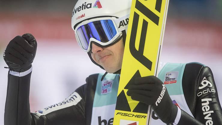 Simon Ammann gelang in der Qualifikation die drittbeste Weite