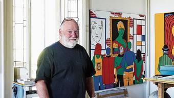 Der erste Mieter im Schloss nach elf Jahren: Pop-Art-Künstler Santhori malt nur in rot, gelb, blau und grün.
