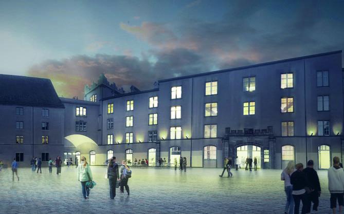 Das Siegerprojekt öffnet das Kasernenareal zum Rhein sowohl seitlich beim Kirchenbau als auch grosszügig im Parterregeschoss.