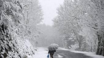Eine Frau auf dem Weg in die nordostspanische Ortschaft Montederramo. In Spanien fiel die Schneefallgrenze auf 200 Meter.