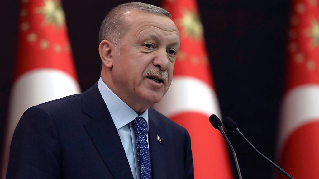ARCHIV - Recep Tayyip Erdogan, Präsident der Türkei, spricht während einer Pressekonferenz. Foto: Burhan Ozbilici/AP/dpa