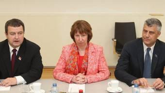 Von links: Ivica Dacic, Catherine Ashton und Hashim Thaci