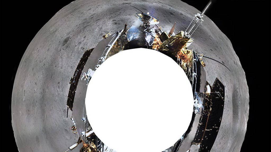 360 Grad-Ansicht vom Mondgefährt der chinesischen Raumfahrtmission auf der erdabgewandten Seite des Mondes.