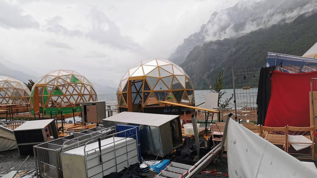 Sturm zerstört Teile von Pop-up-Restaurant: «Zum Glück nur Sachschaden»