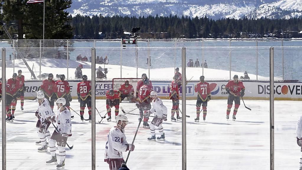 Die herrliche Kulisse beim NHL-Outdoor-Game am Lake Tahoe - aber die Sonne und das Eis bereitete den Organisatoren viel Sorge