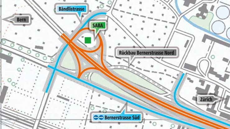 Innerhalb des geplanten Strassenbogens beim Anschluss Schlieren entsteht eine neue Strassenabwasserbehandlungsanlage (Saba).