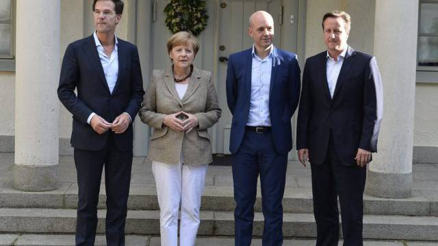 Rutte, Merkel, Reinfeldt und Cameron (v.l.n.r) in Harpsund
