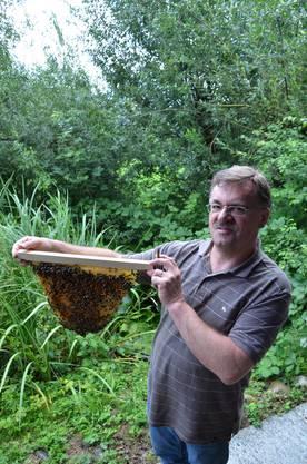 Marcel Strub, Leiter der Fachstelle Bienen, zeigt auf dem Wallierhof in Riedholz eine Naturwabe.