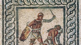 Ausschnitt aus dem Gladiatorenmosaik von Augusta Raurica.