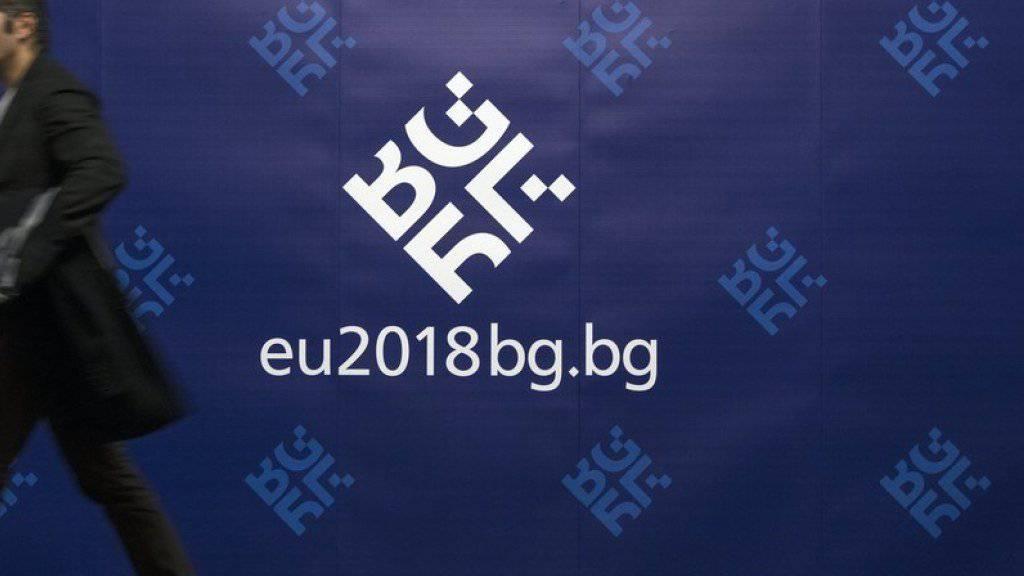 Bulgarien präsidiert für ein halbes Jahr den EU-Rat. Auf dem Archivbild das Logo der bulgarischen Ratspräsidentschaft.