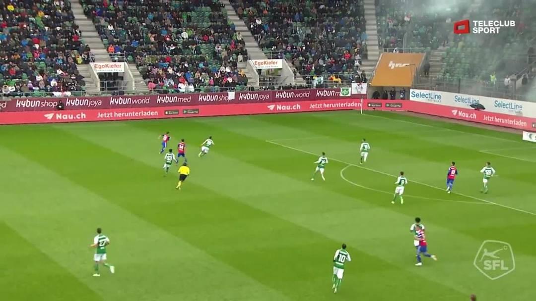 Super League, Saison 2018/19, Runde 31, St. Gallen-FC Basel, 0:1 für FC Basel 1893 von Ricky van Wolfswinkel (Assist: Blas Riveros)