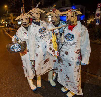 So sahen die armen Schweine letztes Jahr in der Bechtelsnacht aus. Ⓒ Thurgauer Zeitung, Reto Martin