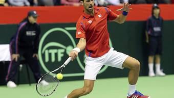 Kaum je in Schwierigkeiten: Die Weltnummer 1 Novak Djokovic holte souverän einen Punkt für das serbische Davis-Cup-Team