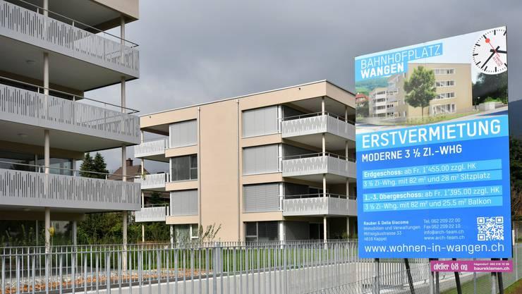 Erstvermietung Überbauung Bahnhofplatz Wangen bei Olten Neubau Wohnungen Mietwohnungen Wohnsiedlung Wohnungsbau Vermietung Vermieter Wohnen Bautätigkeit