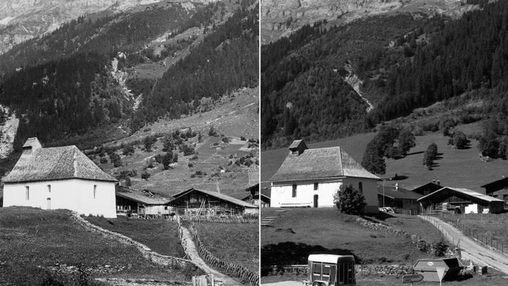 «Ausgeräumte Landschaften» auch im Berner Oberland: Blick von Südosten auf die Kirche Gadmen bei Innertkirchen um 1950 (links) und im Jahr 2003.