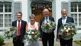 Die Neugewählten: Von links nach rechts: Vize-Landratspräsident Franz Meyer, Landratspräsidentin Daniela Gaugler, Regierungspräsident Isaac Reber und Vize-Regierungspräsident Anton Lauber.